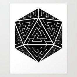 d20 Viking Valknut Odin Art Print
