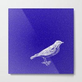 Blue Bird in the Snow Metal Print