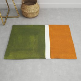 Olive Green Yellow Ochre Minimalist Abstract Colorful Midcentury Pop Art Rothko Color Field Rug