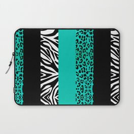 Teal Leopard and Zebra Animal Print  Laptop Sleeve