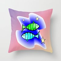 astrology Throw Pillows featuring Astrology, fish by Karl-Heinz Lüpke