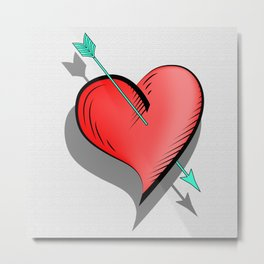 Heart and arrow, a touch of romance Metal Print