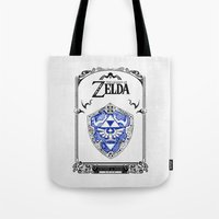 the legend of zelda Tote Bags featuring Zelda legend - Hylian shield by Art & Be