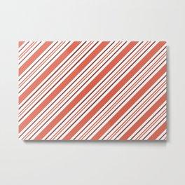 Pantone Living Coral Thick and Thin Angled Lines (Stripes) Metal Print