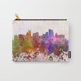 Pittsburgh skyline in watercolor background Carry-All Pouch