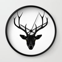 christmas Wall Clocks featuring The Black Deer by Ruben Ireland