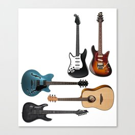 Keep Calm And Play Acoustic Bass Electric Guitars Canvas Print
