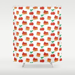 Cherry, Cake and Jam on Toast Shower Curtain