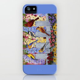 Spring Garden Party Birds and Flowers iPhone Case