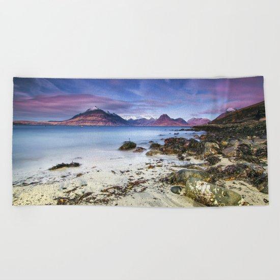Beach Scene - Mountains, Water, Waves, Rocks - Isle of Skye, UK Beach Towel