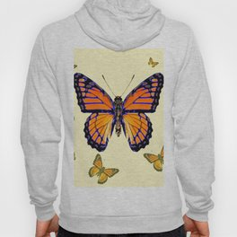 SPRING FLYING ORANGE MONARCH BUTTERFLIES ON CREAM Hoody
