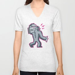 Big Foot with a Boombox Unisex V-Neck