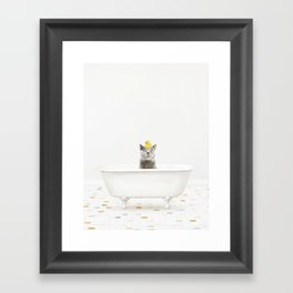 Cat with Rubber Ducky in Vintage Bathtub Framed Art Print