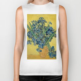 Still Life: Vase with Irises Against a Yellow Background Biker Tank