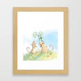 Mouse Giving Flowers Framed Art Print