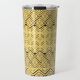 geometric layout in creamy yellow Travel Mug