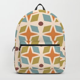 Mid Century Modern Abstract Star Dot Pattern 441 Orange Brown Blue Olive Green Backpack