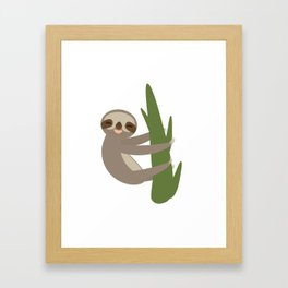 Three-toed sloth on green branch on white background Framed Art Print