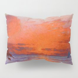 Red Skies at Night, Sailor's Delight, Sailboats landscape painting by Ferdinand Du Puigaudeau Pillow Sham
