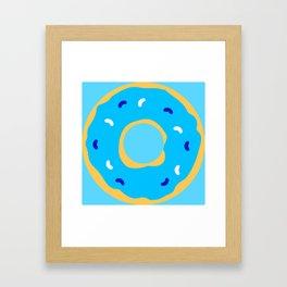 Blue Donut Cute Simple Food Art Framed Art Print