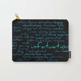 Romantic Handwritten Love Word Cloud Blue Text Carry-All Pouch