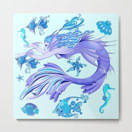 Mystic Mermaid Fairy Purple Creature Metal Print