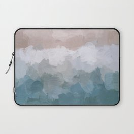 Turquoise Aqua Blue White Dusty Rose Pink Abstract Painting, Modern Wall Art Print, Ocean Sunset Sand Beach Aerial View Laptop Sleeve