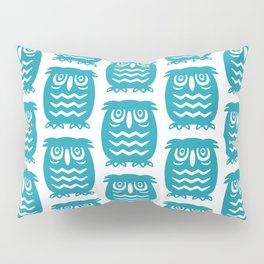Mid Century Owl Pattern Turquoise Pillow Sham