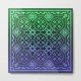 Pixel Patterns Blue Green Metal Print