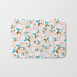 Maneki-neko good luck cat pattern Bath Mat