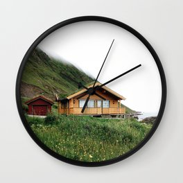 Isolated house in the Lofoten Islands Wall Clock