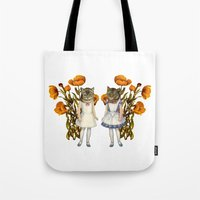shabby chic Tote Bags featuring Shabby Chic Anthropomorphic Cats by Shayla Fish