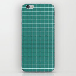 Celadon green - green color - White Lines Grid Pattern iPhone Skin