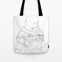 skyrim Tote Bags featuring Skyrim Armor outline by J.A.C