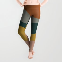 Retro Waves Minimalist Pattern 2 in Rust, Blush Pink, Gray, Navy Blue, and Mustard Gold Leggings