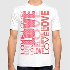The Word Love In Red With Hearts White Mens Fitted Tee MEDIUM