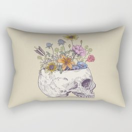 Half Skull Flowers Rectangular Pillow