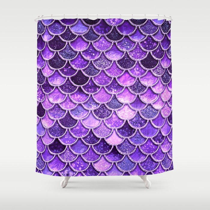 Pantone Ultra Violet Glitter Ombre Mermaid Scales Pattern Shower Curtain