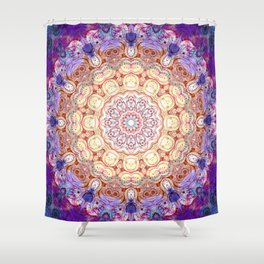 Watercolor Mandala Grunge - Magenta Blue Yellow Shower Curtain