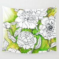 peonies Wall Tapestries featuring Peonies by Dheiuk