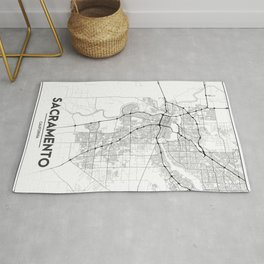 Minimal City Maps - Map Of Sacramento, California, United States Rug