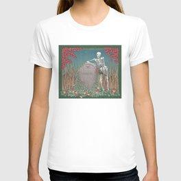 Skeleton Leaning on Grave T-shirt