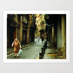 Barcelona Old Lady Art Print