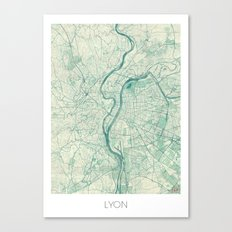 Lyon Map Blue Vintage Canvas Print