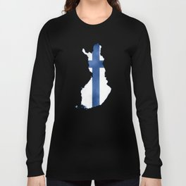 Finland, Suomi map with flag, washed watercolor Long Sleeve T-shirt