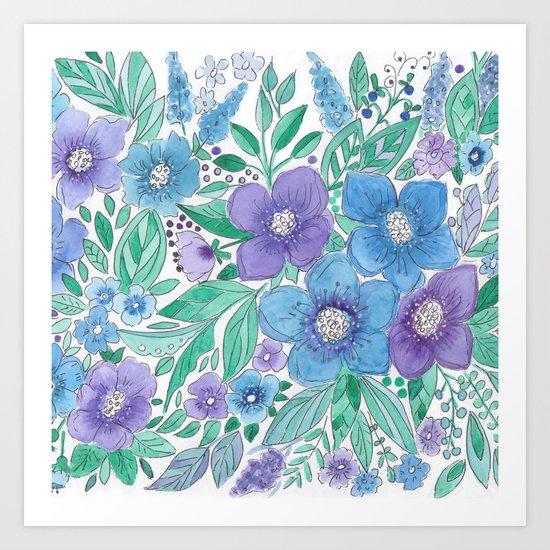 Watercolor . Blue Bouquet. Art Print