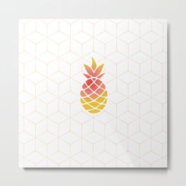 Pineapple Geometric Art Metal Print
