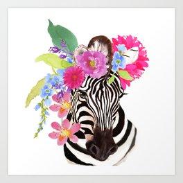 Zebra with Flowers Art Print