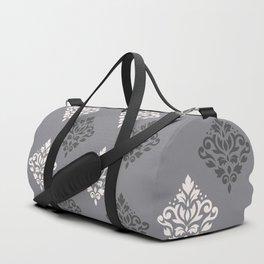 Scroll Damask Art I Cream & Grays Duffle Bag
