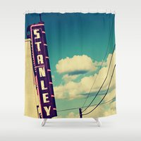 stanley kubrick Shower Curtains featuring Stanley by Trish Mistric